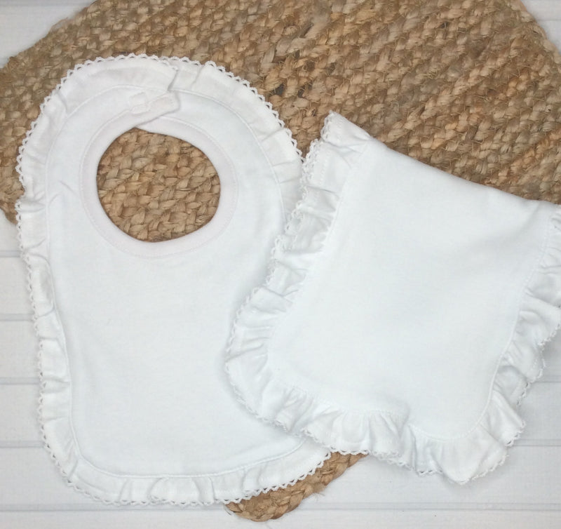 Picot Edge Ruffled Bib and Burp