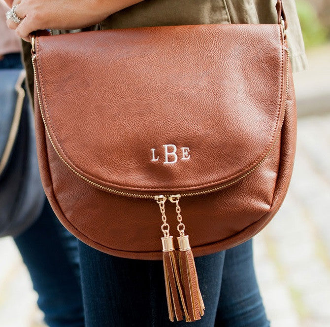 Personalized Cross body tassel tote