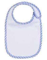 Baby Bib-Plain with monogram and gigham trim