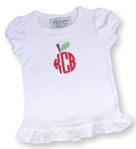Hand monogrammed Grils Apple  t-shirt