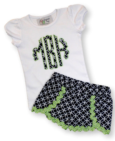 monogrammed girls tulip shorts sets