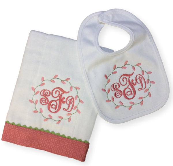 Coral Rose Buds Bib and Burp Set