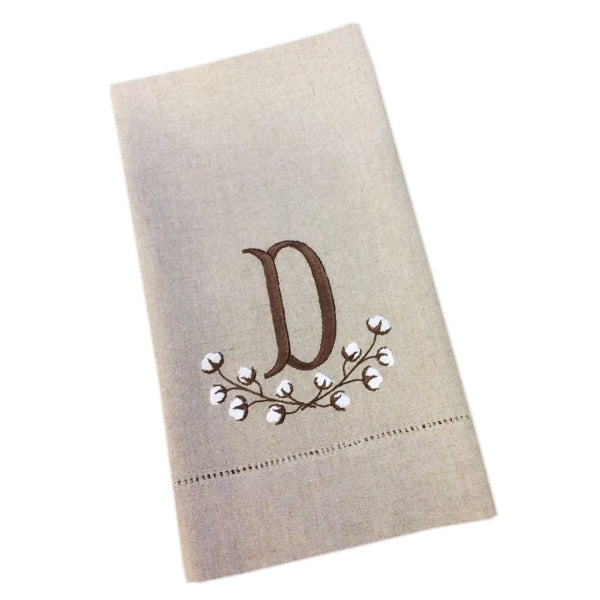 Cotton Branch Monogrammed Hemstitch Guest Towels