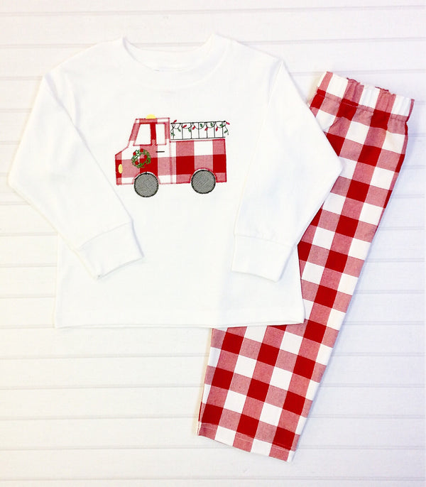 Christmas Firetruck Pants Set