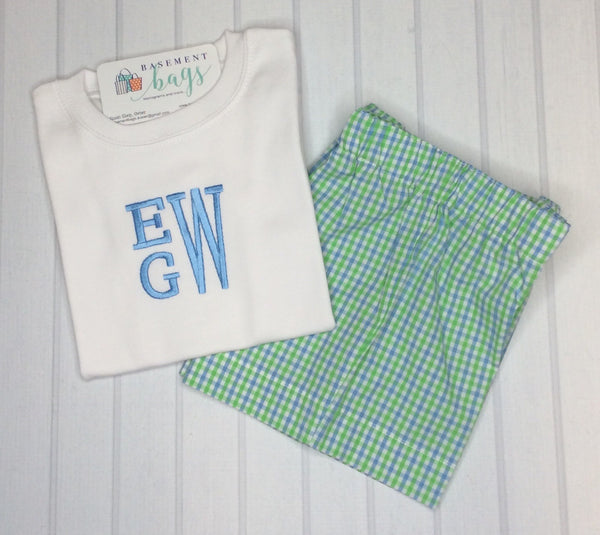 Stacked Monogram Boys Shorts Set Set