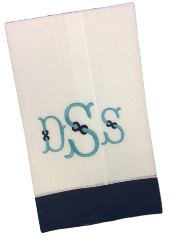 Two Tone Monogrammed Hemstitch Guest Towels