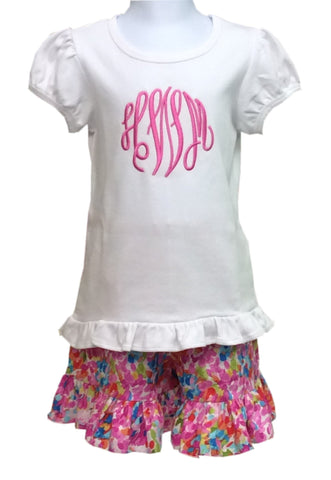 Monogrammed Girls Ruffle Short Set