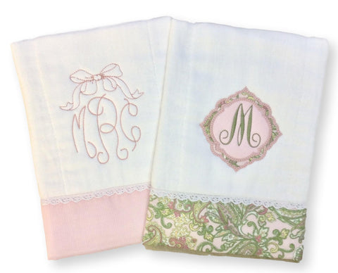 Pretty in Pink Personalzied Burp Cloth Set (2)