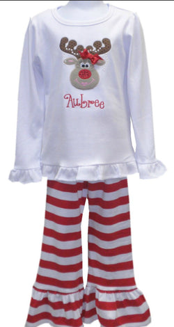 Reindeer Ruffle Pants Set
