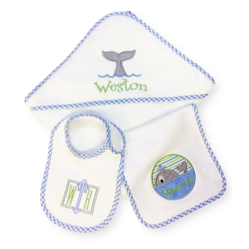 'Whales' Personalized Baby Gift Set