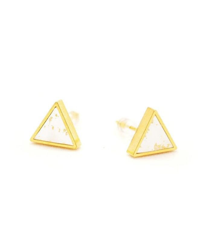 Triangle Stud - Gold and Speckled White