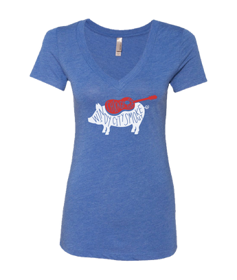 Blue Scribble Pig V-Neck T-Shirt