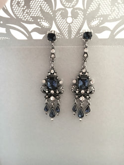 Vintage Inspired Sapphire Blue Bridal Earrings