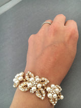Golden Leaf Bridal Bracelet with Pearls and Crystal Rhinestones,