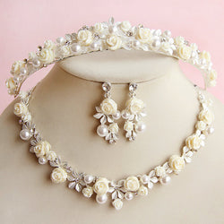 Romantic Garden Bridal Set- Tiara, Necklace and Earrings