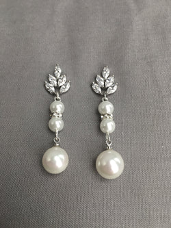 Vintage Inspired Bridal Earrings with Leaf Design Crystals and Drop Pearl