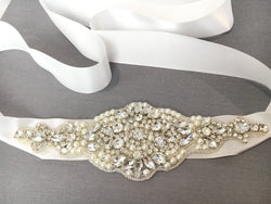 Bridal Belt with Pearls and Crystal Rhinestones