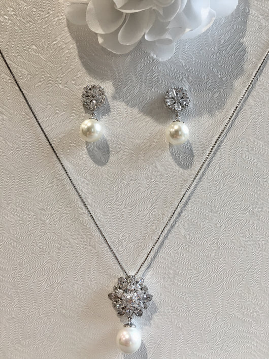 Crystal and Pearl Bridal Set