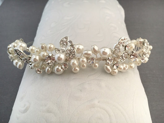 Bridal Headband with Pearls and Crystal Rhinestone Leaves
