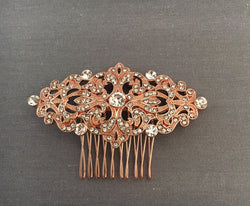 Rose Gold and Swarovski Crystal Bridal Hair Comb