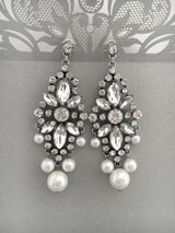 Vintage Inspired Bridal Dangle Earrings with Rhinestones and Pearls