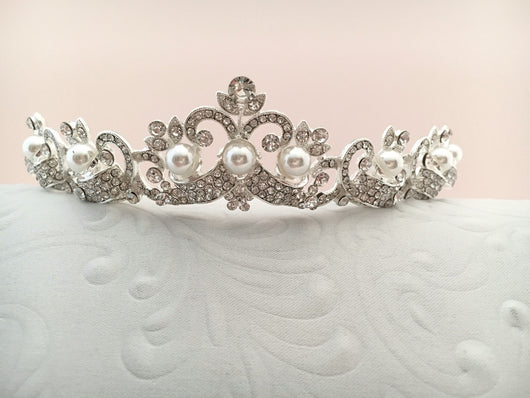 Bridal Tiara with Crystals and Pearls