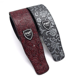 Leather Embossed Guitar Strap - Wine Red and Metal Silver