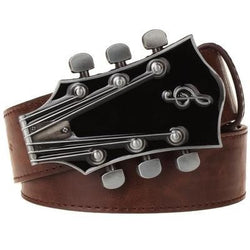Leather Belt w. Metal Guitar Belt Buckle - Choose your color combination