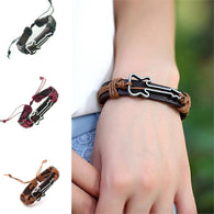 Guitar Leather Bracelet - Authentic Leather, Adjustable (8 inches to 13 inches) Bracelet