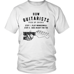 "Guitarist T-shirt - ""How Guitarists Pick Up Chicks"""