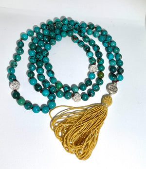 PURIFYING LOVE FOR STRENGTH MALA - Turquoise and Silver