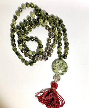 SEEKER TRANSFORMER MALA - Serpent Jasper and Pyrite