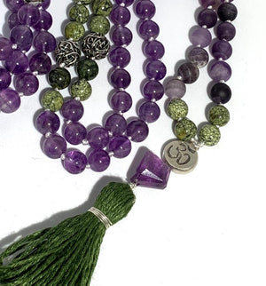 NUTURING PEACE MALA - Amethyst and Serpent Jasper