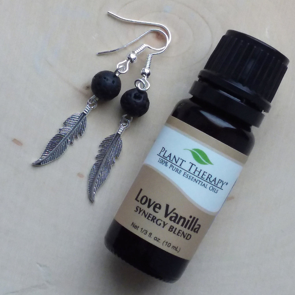 Diffuser Earrings with Feather Charm