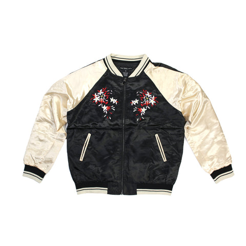 Vanni Venice Moda Embroidered Black Floral Bomber Jacket - 168108 - NYC Fashion Guru