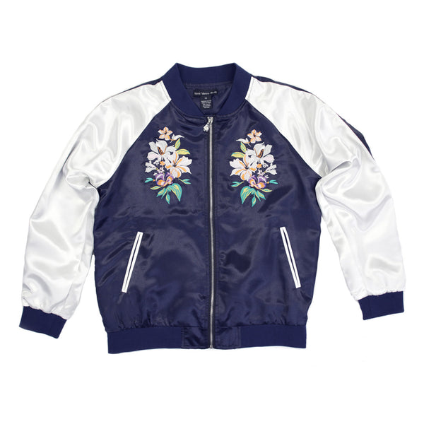 Embroidered Floral Bomber Jacket for Women
