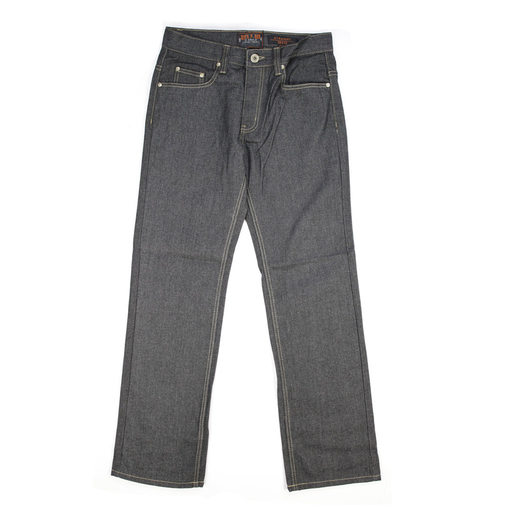 Rock N Run Unwashed Raw Denim Straight Fit Black Jeans Featuring Khaki Stitch - 6600 - NYC Fashion Guru