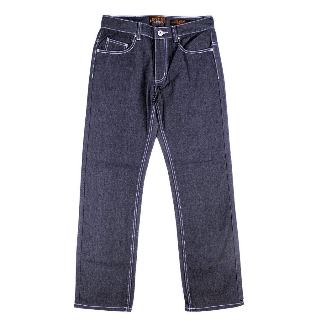 Rock N Run Unwashed Raw Denim Straight Fit Jeans for Men Featuring White Stitch  - 6600 - NYC Fashion Guru