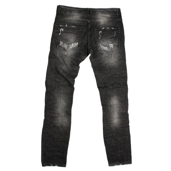 Heavily Ripped Made in Italy Black Jeans