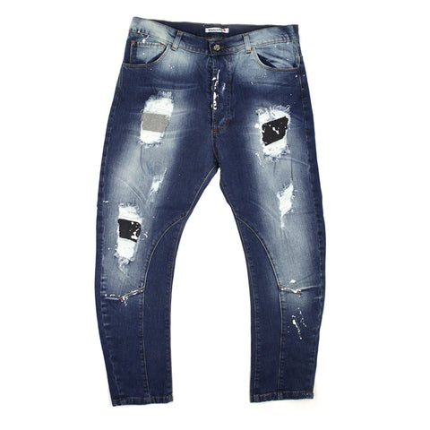 Made in Italy Ripped Jeans with Wet Paint Design