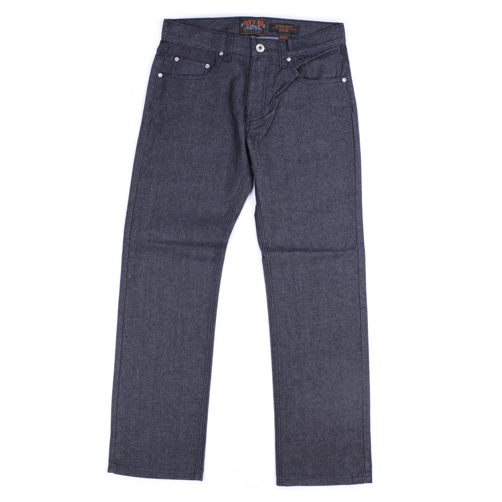 Unwashed Raw Denim Straight Fit Blue Jeans