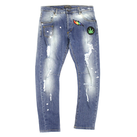 Ripped Jeans with Sticker and Wet Paint