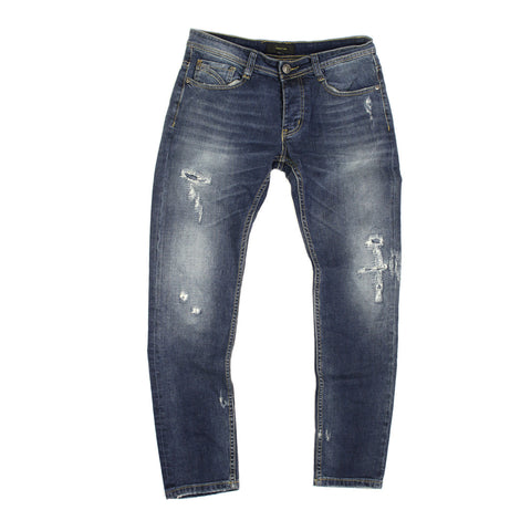 Blue Stone Washed and Ripped Jeans  - CO212 / GL13648 - NYC Fashion Guru
