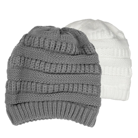 Thick Slouchy Knit Beanie Hat - H702-P - NYC Fashion Guru