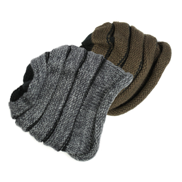 Exclusive Cable Knit Rolled Up Brim Beanie Hat - H703-P - NYC Fashion Guru