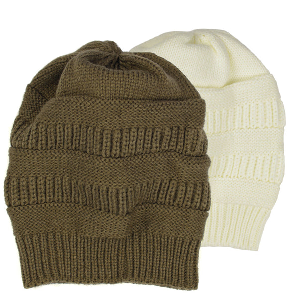 Warm Cable Knit Thick Slouch Beanie Cap - H704-P - NYC Fashion Guru