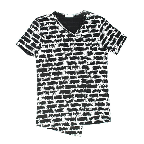 Fashion Brick Print T-shirt with Pocket for Men