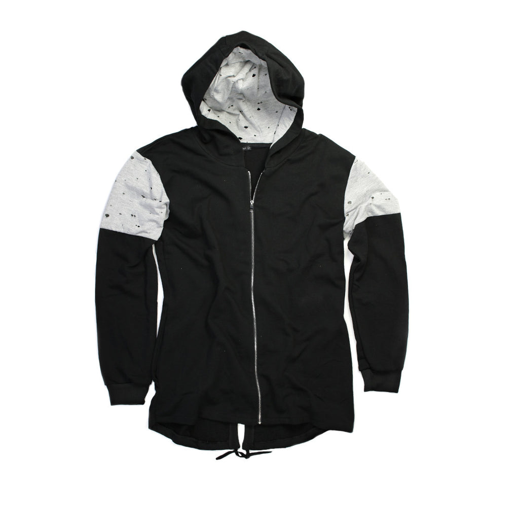 Ripped Jacket with Hoodie for Men