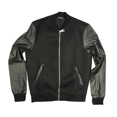 Mesh Crew Bomber Jacket - L8083 - NYC Fashion Guru