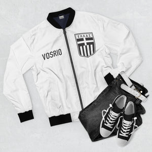 Classic Hellas Black On White VOSRIO Unisex Bomber Jacket